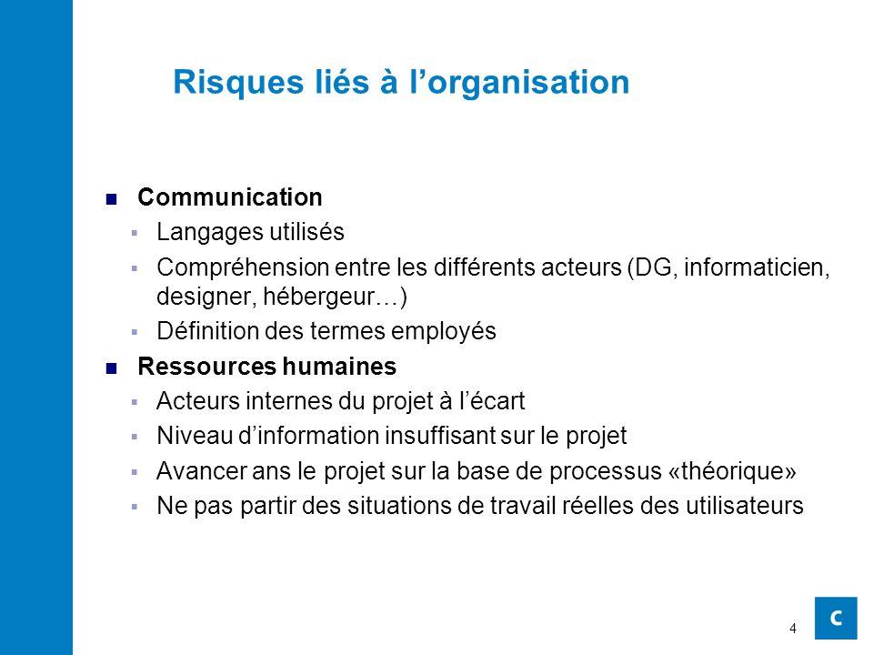 Risques liés à l'organisation Communication  Langages utilisés  Compréhension entre les différents acteurs (DG, informaticien, designer, hébergeur…)