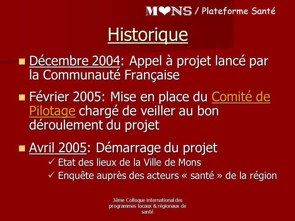 3ème Colloque international des programmes locaux & régionaux de santé Décembre 2004: Appel à projet lancé par la Communauté Française Décembre 2004: