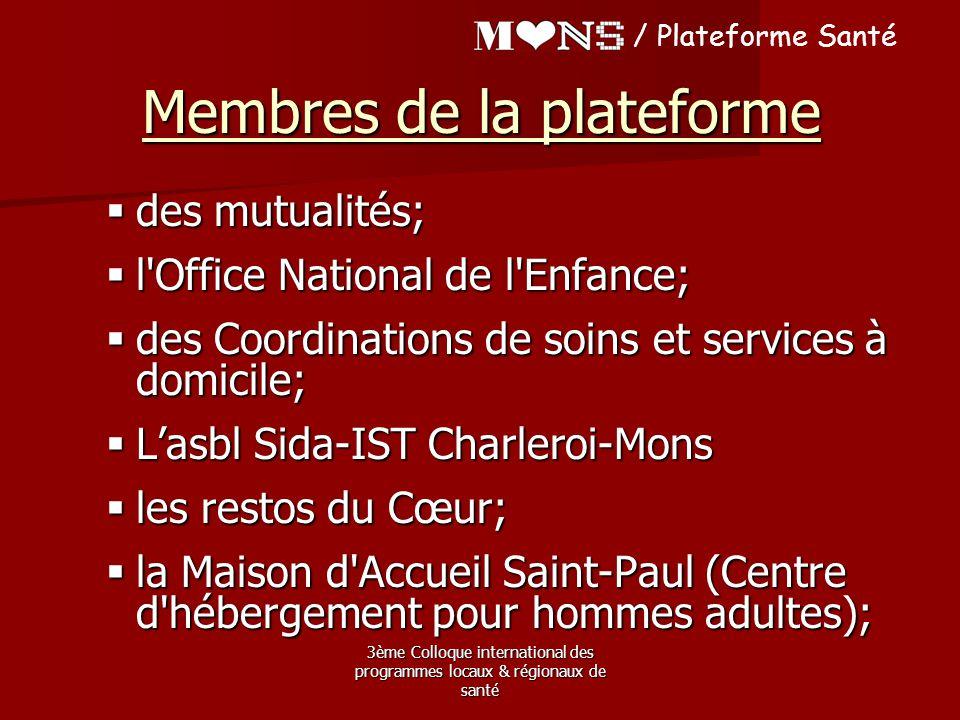 3ème Colloque international des programmes locaux & régionaux de santé / Plateforme Santé Membres de la plateforme  des mutualités;  l'Office Nation