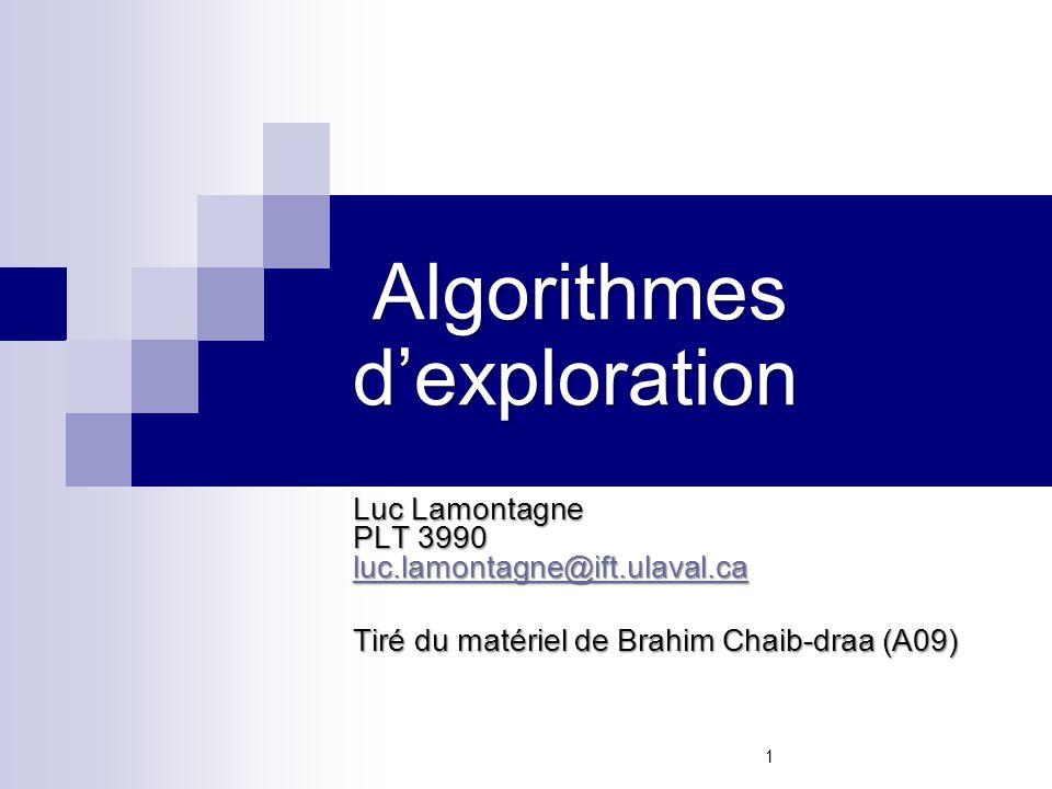 Algorithmes d'exploration Algorithmes d'exploration Luc Lamontagne PLT 3990 luc.lamontagne@ift.ulaval.ca luc.lamontagne@ift.ulaval.ca Tiré du matériel