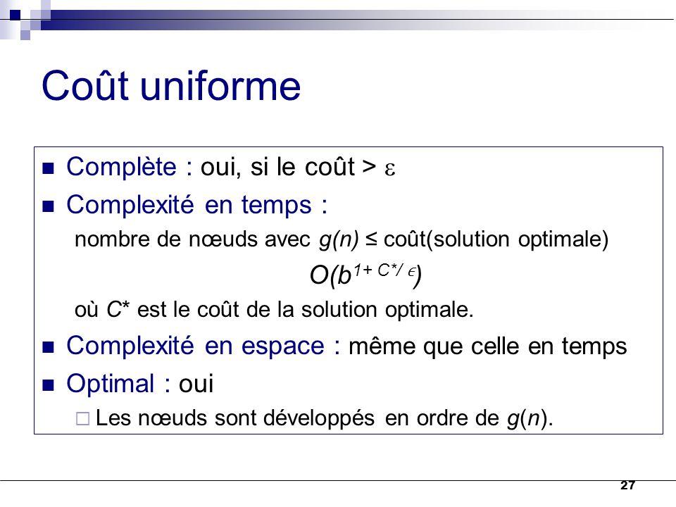 27 Coût uniforme Complète : oui, si le coût >  Complexité en temps : nombre de nœuds avec g(n) ≤ coût(solution optimale) O(b 1+ C*/ ) où C* est le co