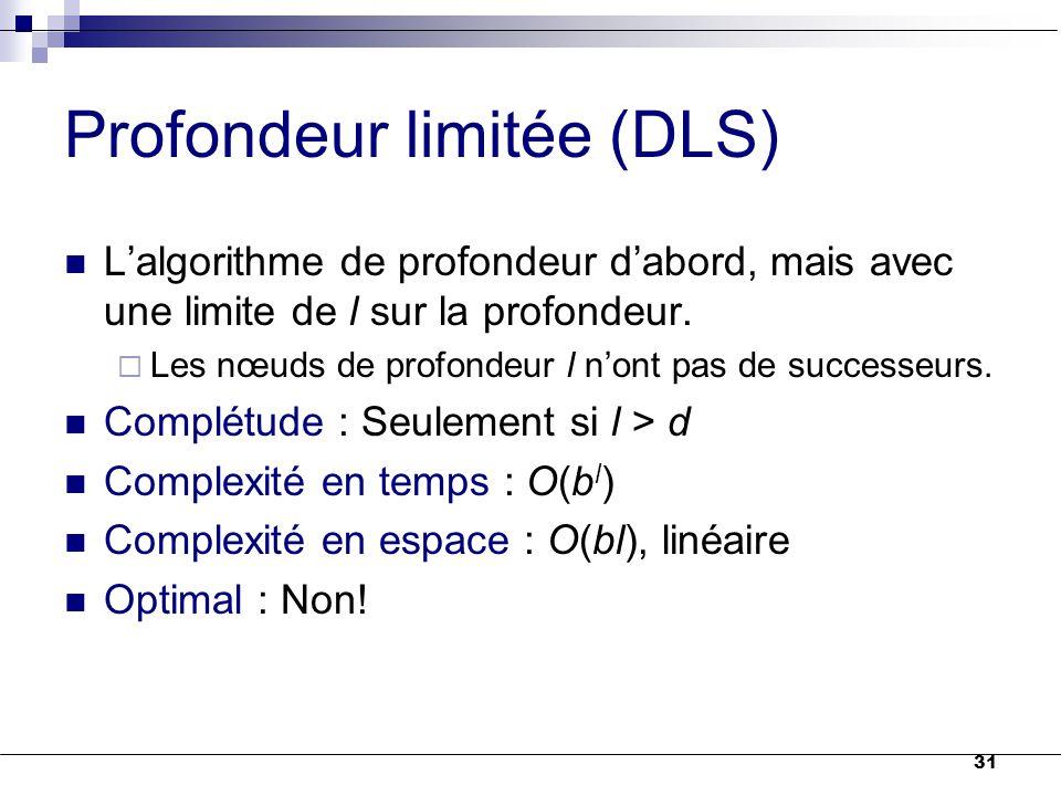 31 Profondeur limitée (DLS) L'algorithme de profondeur d'abord, mais avec une limite de l sur la profondeur.  Les nœuds de profondeur l n'ont pas de
