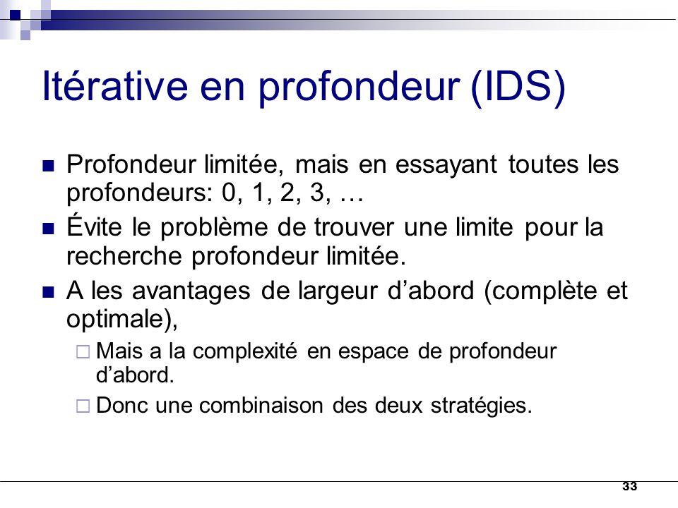 33 Itérative en profondeur (IDS) Profondeur limitée, mais en essayant toutes les profondeurs: 0, 1, 2, 3, … Évite le problème de trouver une limite po