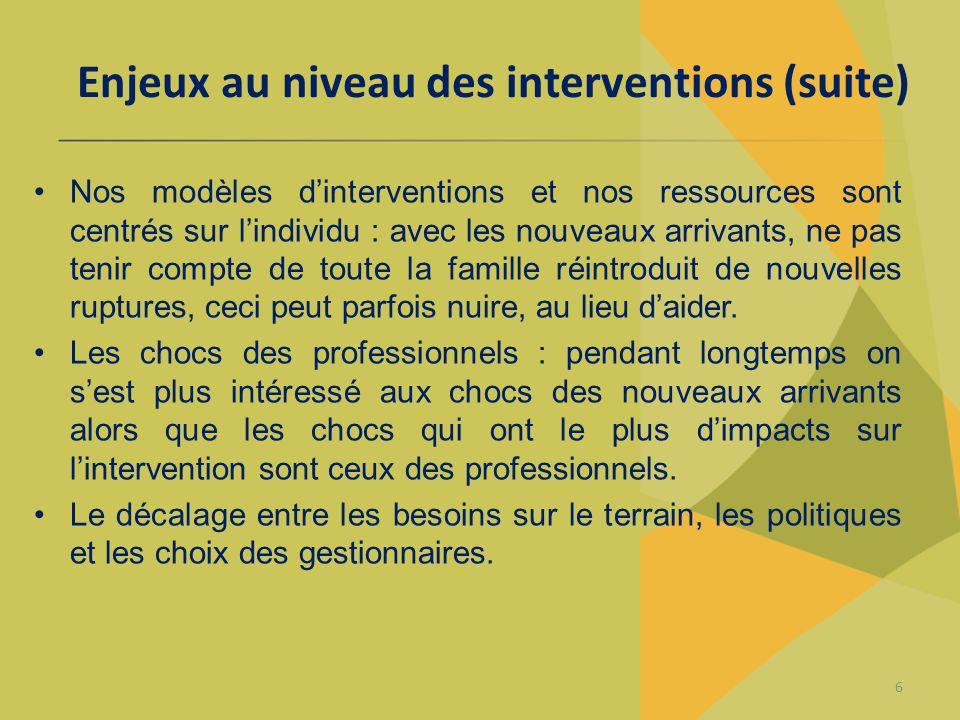 Enjeux au niveau des interventions (suite) Nos modèles d'interventions et nos ressources sont centrés sur l'individu : avec les nouveaux arrivants, ne