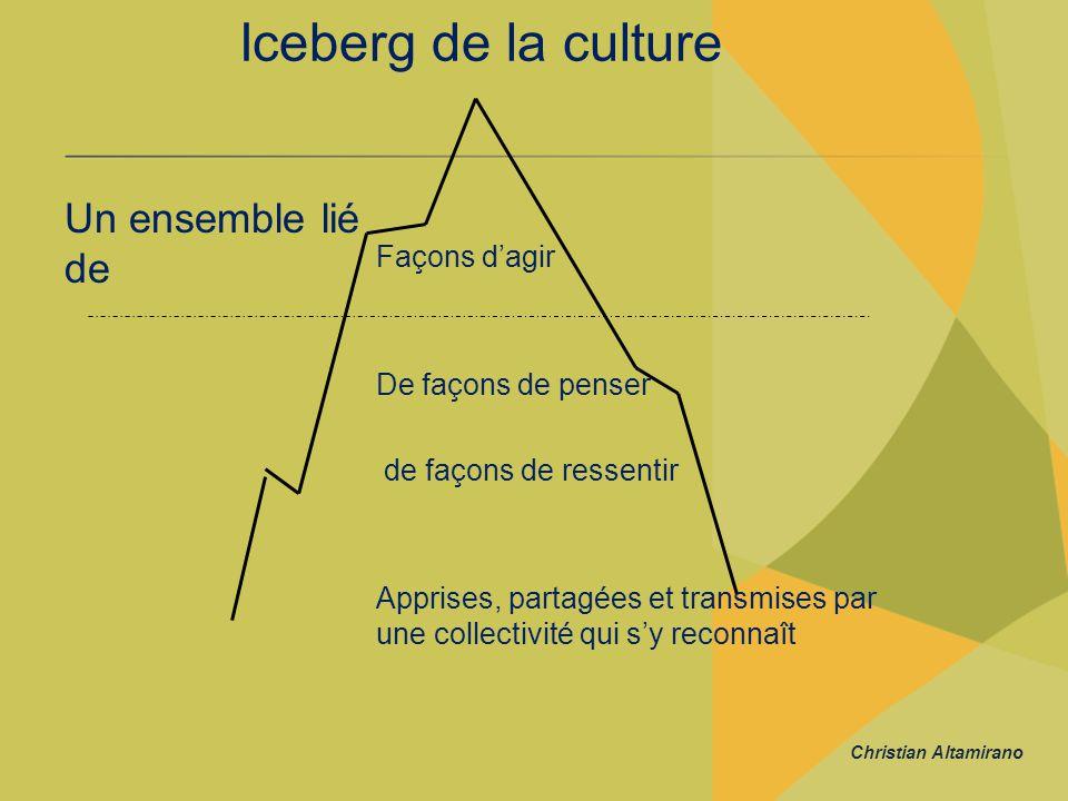 Iceberg de la culture Un ensemble lié de Façons d'agir De façons de penser de façons de ressentir Apprises, partagées et transmises par une collectivi