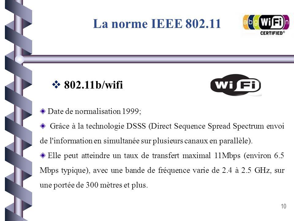 La norme IEEE 802.11 9  802.11a : Date de normalisation: le 16 septembre 1999, elle a été révisé le 12 juin 2003 pour s'appeler le standard IEEE Std
