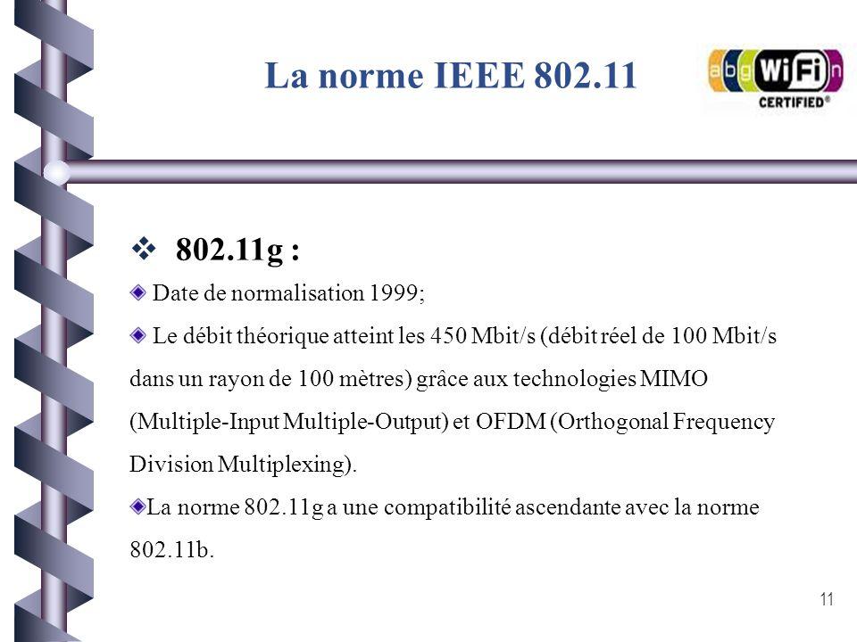 Date de normalisation 1999; Grâce à la technologie DSSS (Direct Sequence Spread Spectrum envoi de l'information en simultanée sur plusieurs canaux en