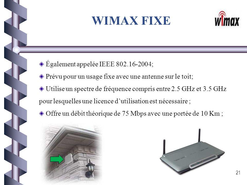 """WIMAX WiMAX acronyme de """"Worldwide Interoperability for Microwave Access"""", est issue d'une initiative lancée en 2001 par l'Alliance WiMAX. Son objecti"""
