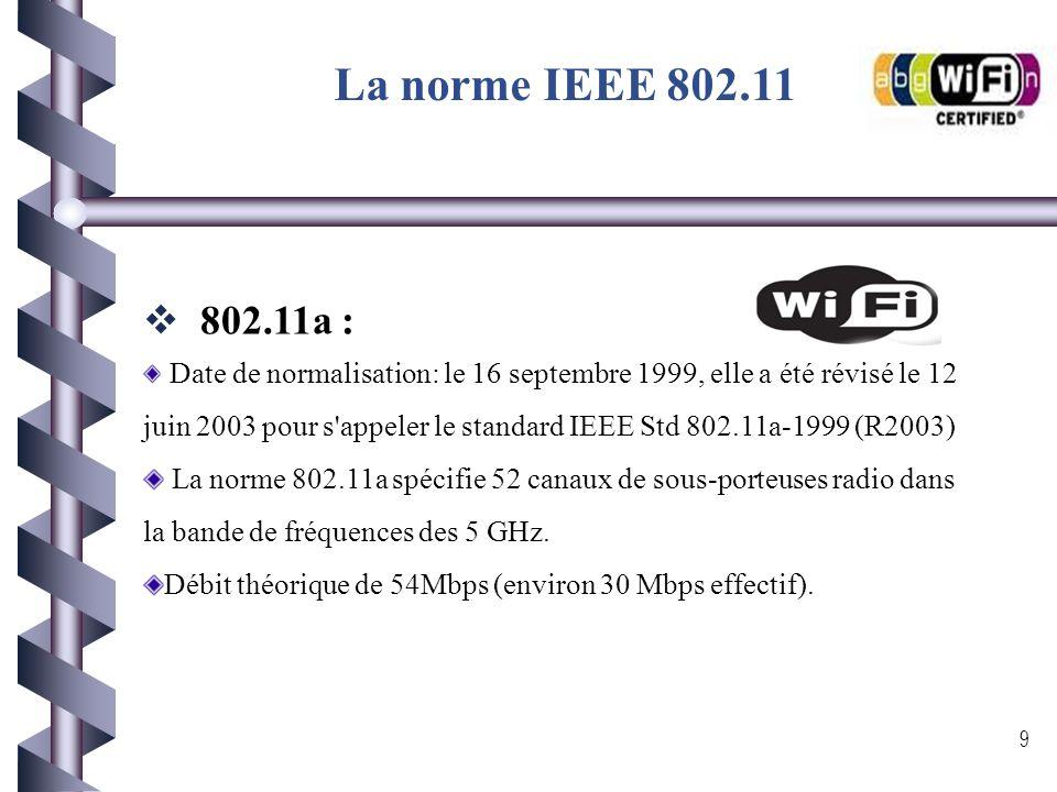 La norme IEEE 802.11 A la base, le nom Wi-Fi est spécifique à la norme IEEE 802.11 initiale. Cette norme est un standard international décrivant les c