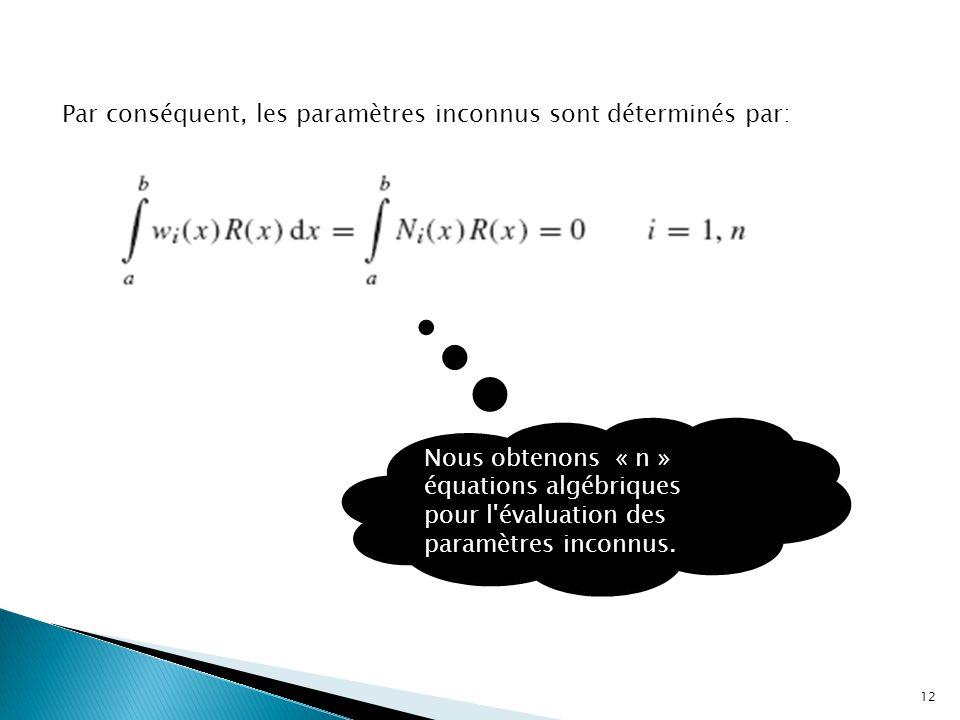Par conséquent, les paramètres inconnus sont déterminés par: Nous obtenons « n » équations algébriques pour l'évaluation des paramètres inconnus. 12
