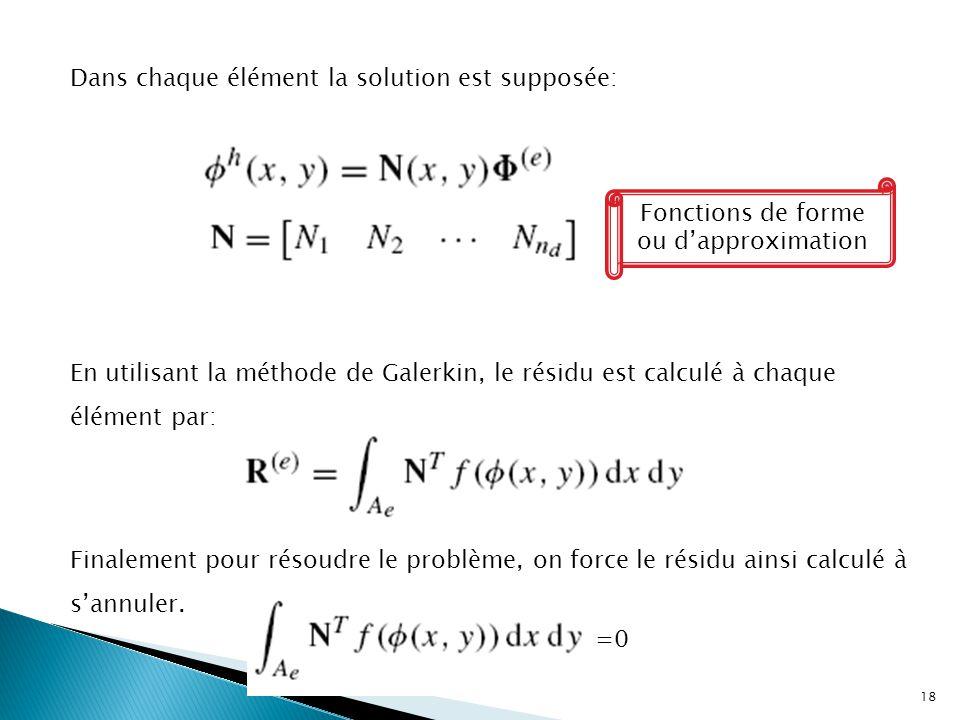 Dans chaque élément la solution est supposée: Fonctions de forme ou d'approximation En utilisant la méthode de Galerkin, le résidu est calculé à chaque élément par: Finalement pour résoudre le problème, on force le résidu ainsi calculé à s'annuler.