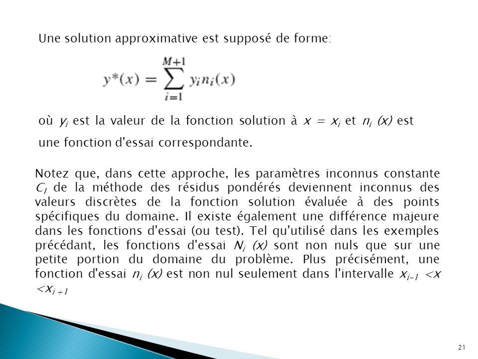 Une solution approximative est supposé de forme: où y i est la valeur de la fonction solution à x = x i et n i (x) est une fonction d essai correspondante.