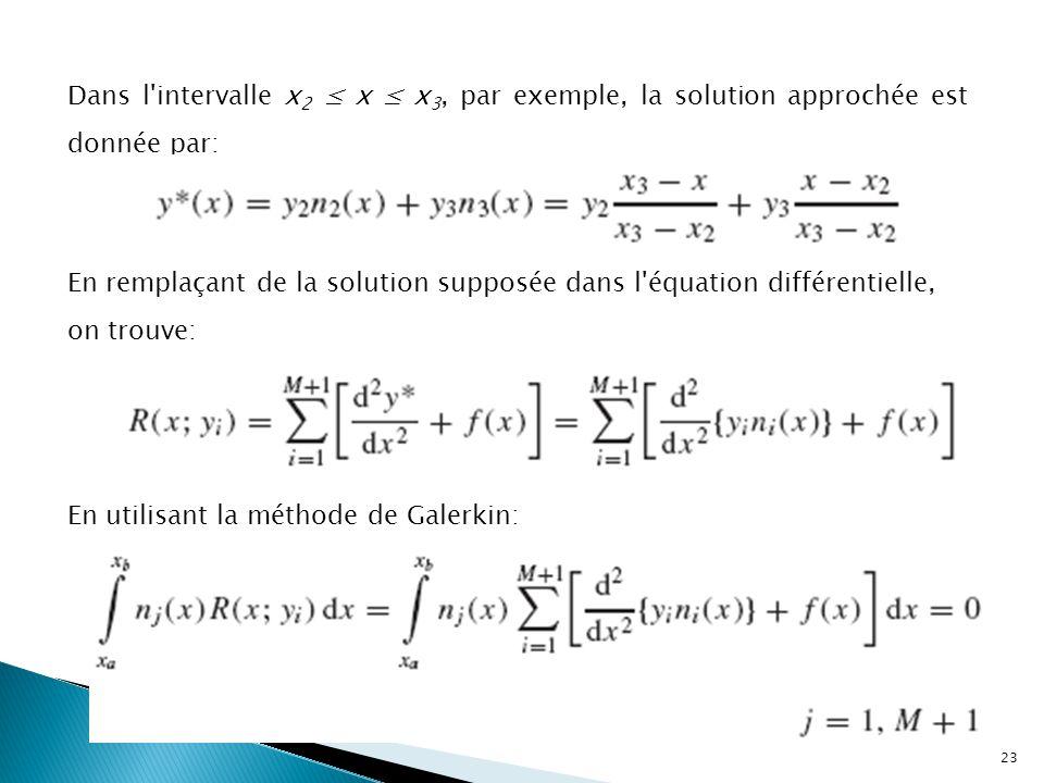 Dans l intervalle x 2 ≤ x ≤ x 3, par exemple, la solution approchée est donnée par: En remplaçant de la solution supposée dans l équation différentielle, on trouve: En utilisant la méthode de Galerkin: 23