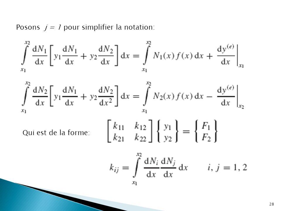 Posons j = 1 pour simplifier la notation: Qui est de la forme: 28