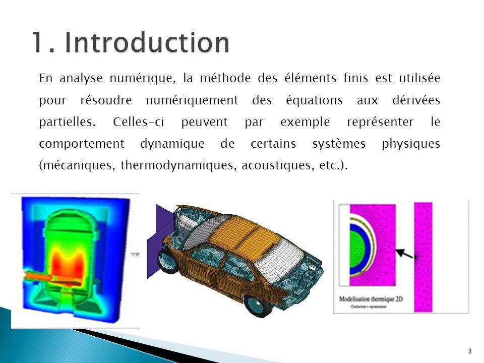 En analyse numérique, la méthode des éléments finis est utilisée pour résoudre numériquement des équations aux dérivées partielles. Celles-ci peuvent
