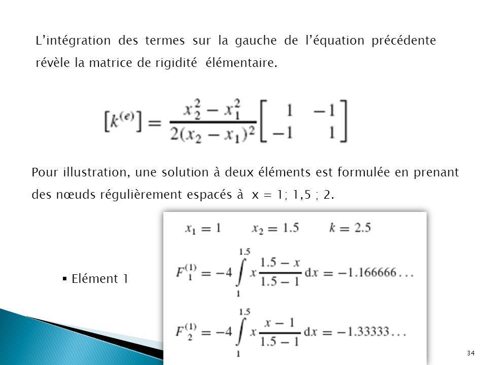L'intégration des termes sur la gauche de l'équation précédente révèle la matrice de rigidité élémentaire. Pour illustration, une solution à deux élém
