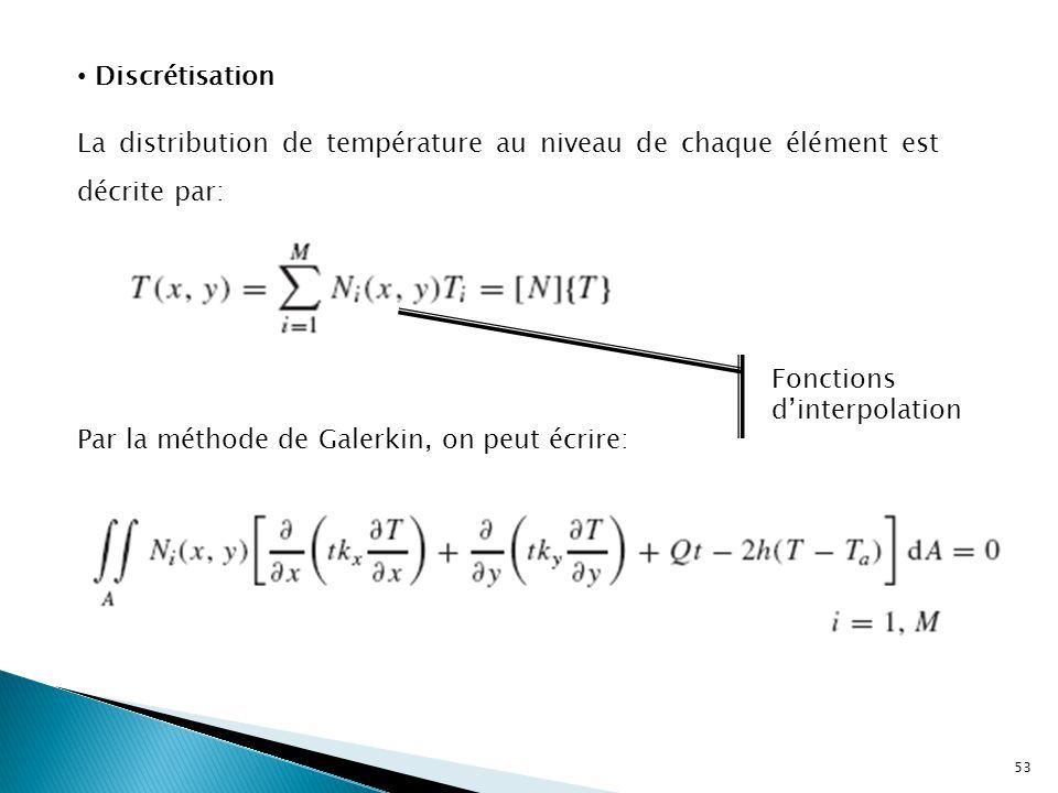 La distribution de température au niveau de chaque élément est décrite par: Fonctions d'interpolation Par la méthode de Galerkin, on peut écrire: Discrétisation 53