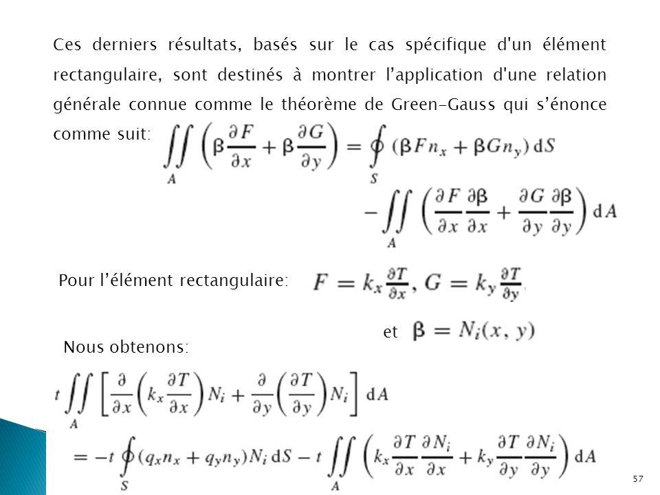 Ces derniers résultats, basés sur le cas spécifique d un élément rectangulaire, sont destinés à montrer l'application d une relation générale connue comme le théorème de Green-Gauss qui s'énonce comme suit: Pour l'élément rectangulaire: et Nous obtenons: 57