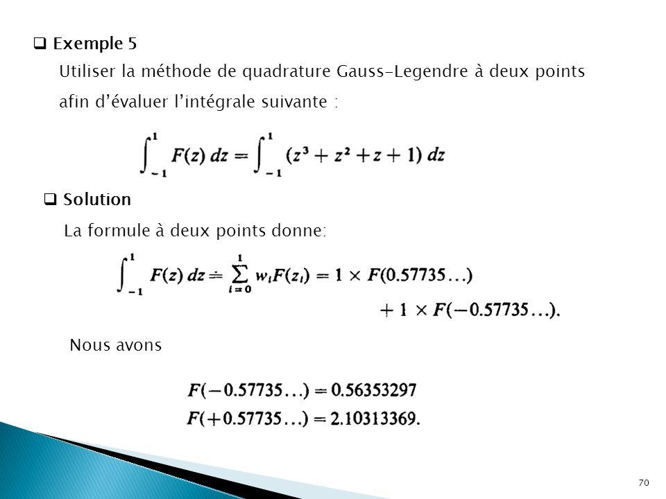  Exemple 5 Utiliser la méthode de quadrature Gauss-Legendre à deux points afin d'évaluer l'intégrale suivante :  Solution La formule à deux points donne: Nous avons 70