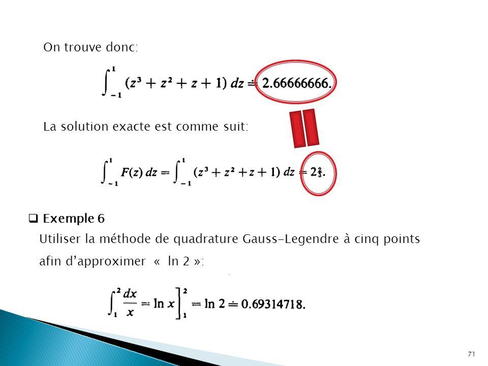 On trouve donc: La solution exacte est comme suit:  Exemple 6 Utiliser la méthode de quadrature Gauss-Legendre à cinq points afin d'approximer « ln 2 »: 71