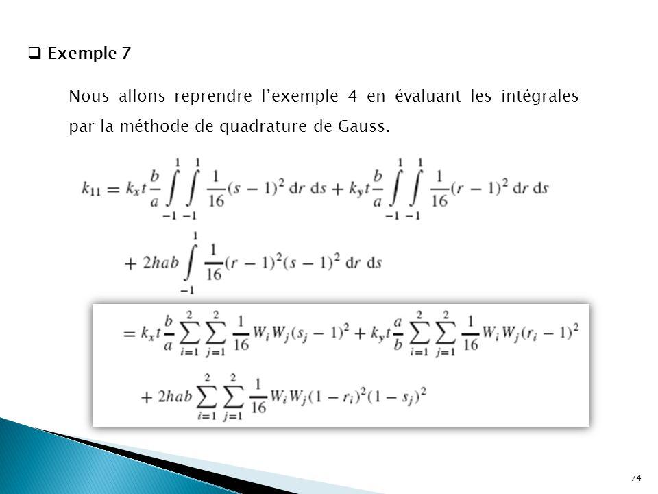  Exemple 7 Nous allons reprendre l'exemple 4 en évaluant les intégrales par la méthode de quadrature de Gauss. 74
