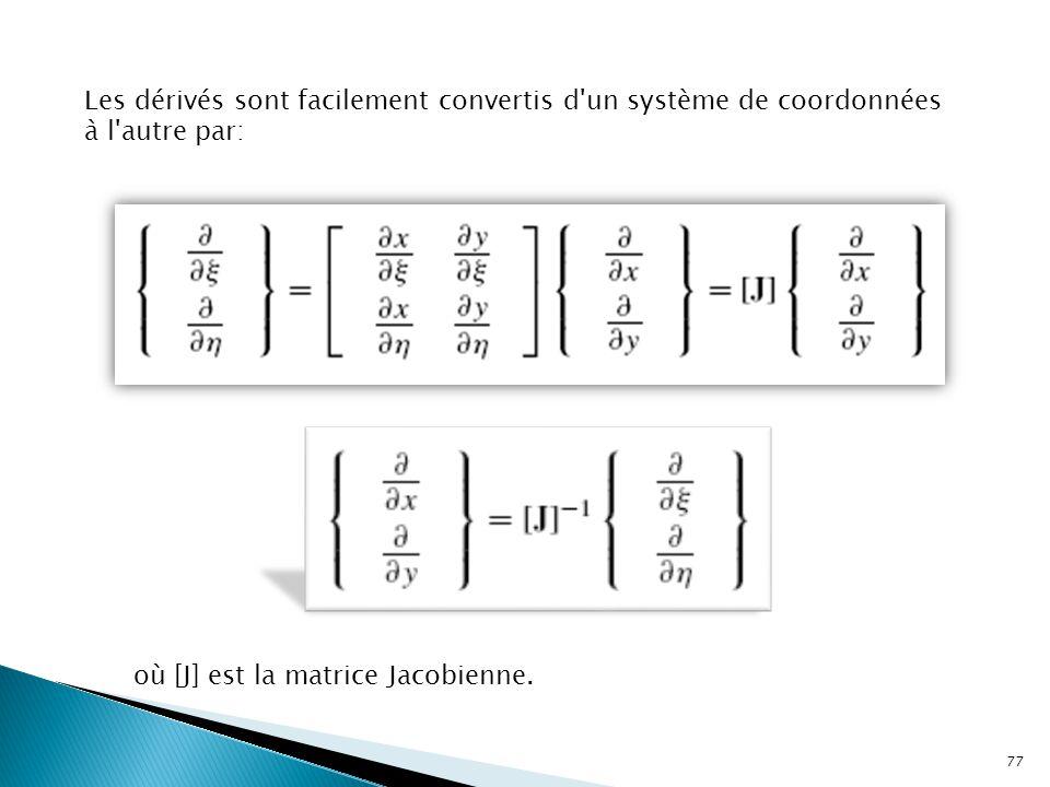 Les dérivés sont facilement convertis d'un système de coordonnées à l'autre par: où [J] est la matrice Jacobienne. 77