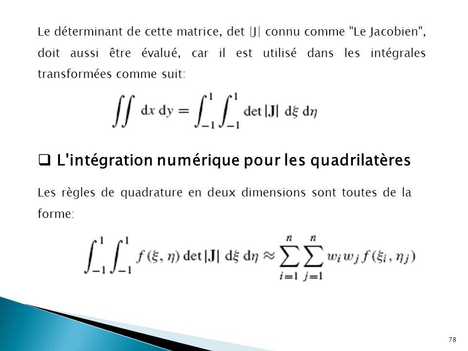 Le déterminant de cette matrice, det |J| connu comme Le Jacobien , doit aussi être évalué, car il est utilisé dans les intégrales transformées comme suit:  L intégration numérique pour les quadrilatères Les règles de quadrature en deux dimensions sont toutes de la forme: 78