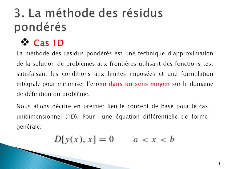 La méthode des résidus pondérés est une technique d'approximation de la solution de problèmes aux frontières utilisant des fonctions test satisfaisant les conditions aux limites imposées et une formulation intégrale pour minimiser l'erreur dans un sens moyen sur le domaine de définition du problème.