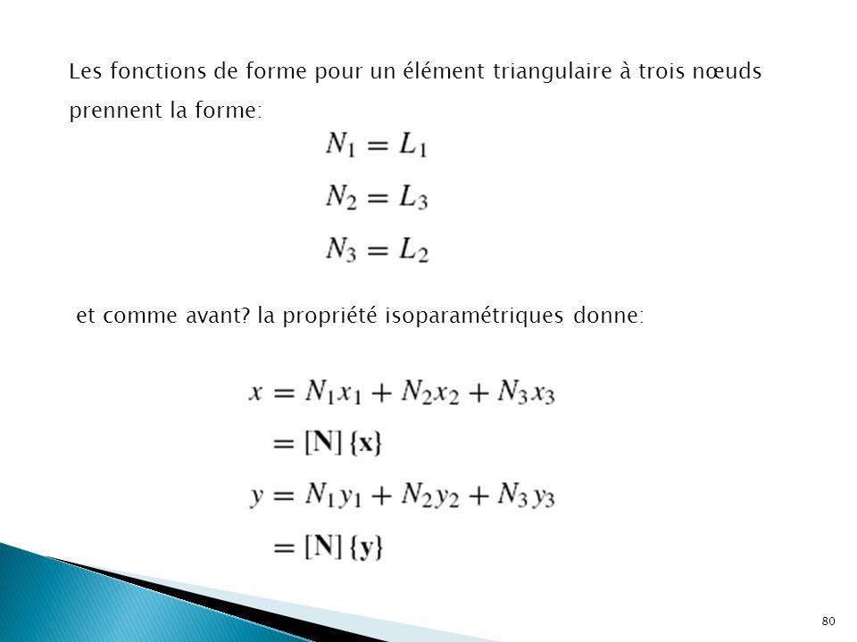 Les fonctions de forme pour un élément triangulaire à trois nœuds prennent la forme: et comme avant? la propriété isoparamétriques donne: 80