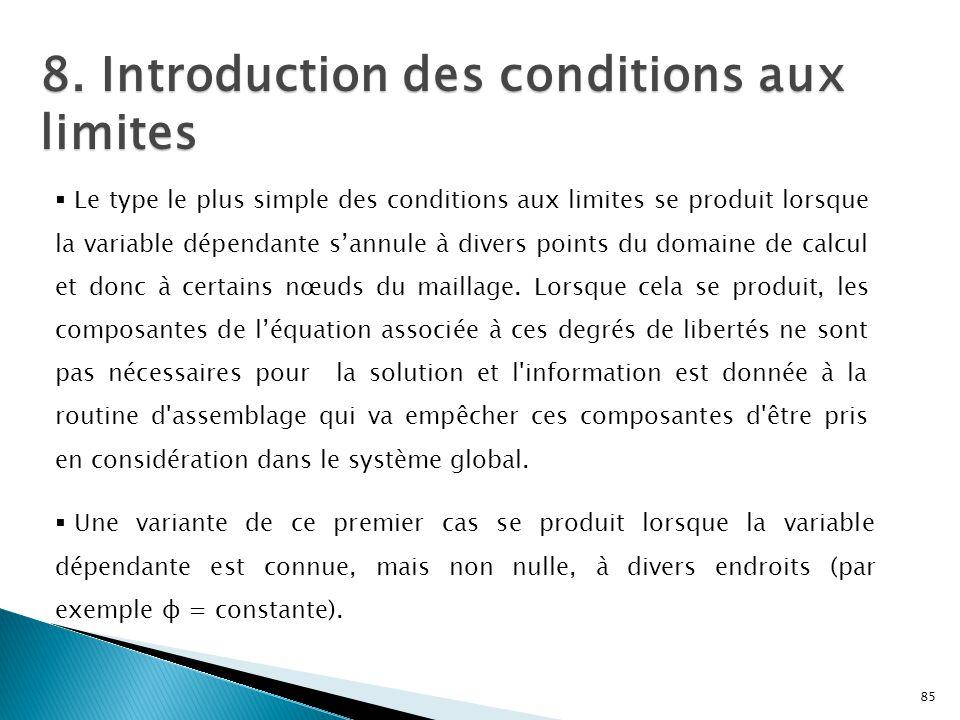 8. Introduction des conditions aux limites 85  Le type le plus simple des conditions aux limites se produit lorsque la variable dépendante s'annule à