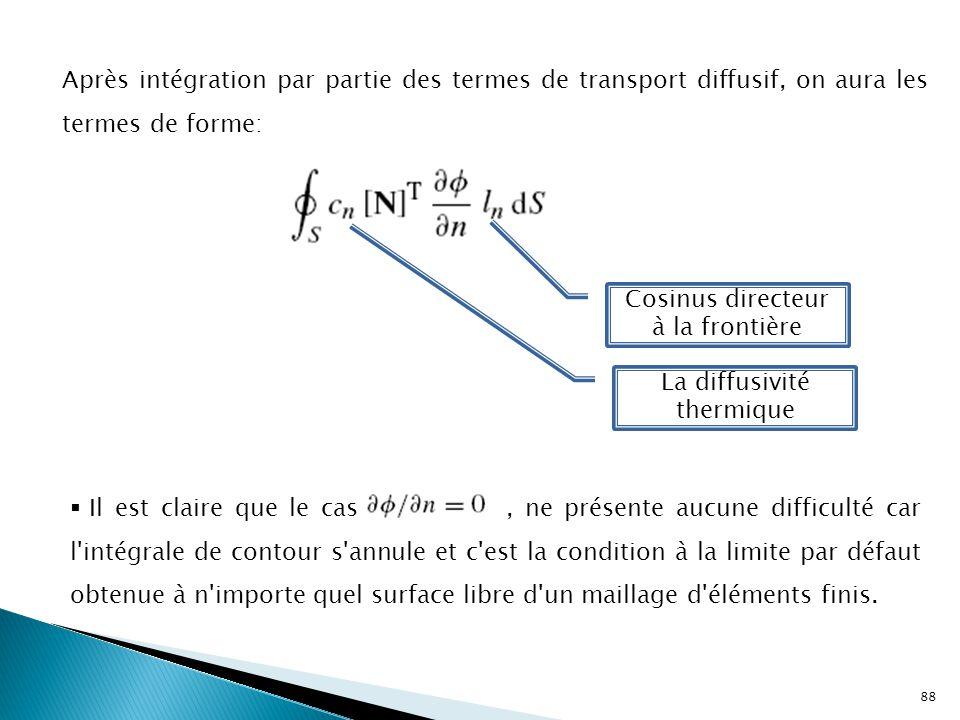 88 Après intégration par partie des termes de transport diffusif, on aura les termes de forme: Cosinus directeur à la frontière La diffusivité thermiq