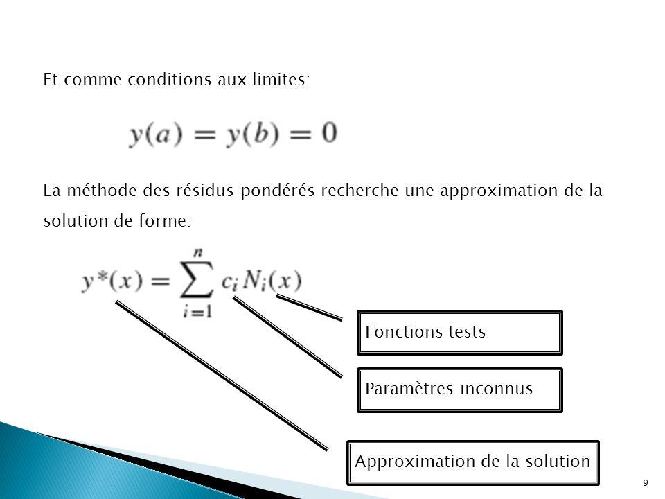 La méthode des résidus pondérés recherche une approximation de la solution de forme: Fonctions tests Approximation de la solution Paramètres inconnus Et comme conditions aux limites: 9