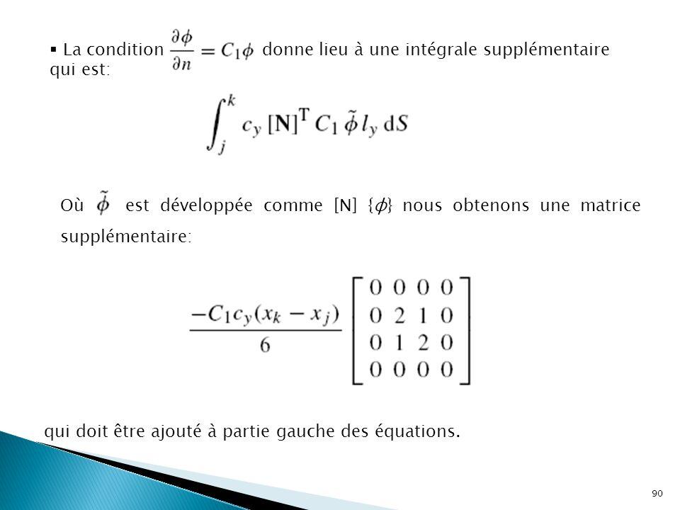 90  La condition donne lieu à une intégrale supplémentaire qui est: Où est développée comme [N] {φ} nous obtenons une matrice supplémentaire: qui doit être ajouté à partie gauche des équations.