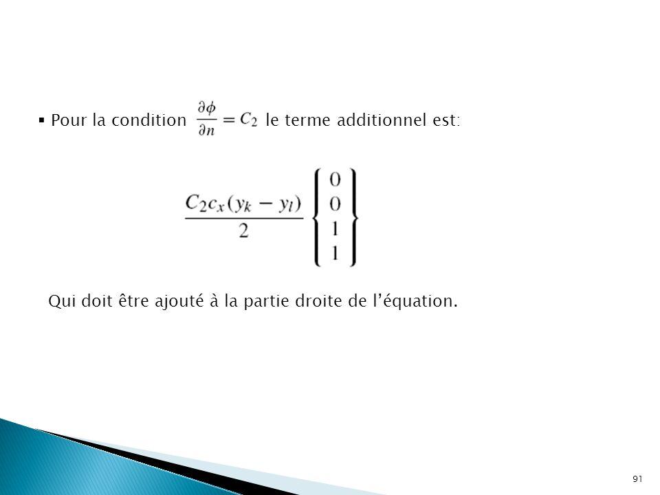 91  Pour la condition le terme additionnel est: Qui doit être ajouté à la partie droite de l'équation.