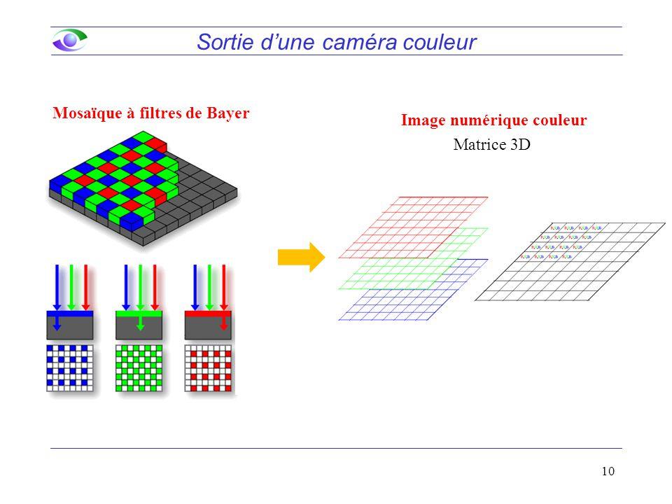 10 Image numérique couleur Sortie d'une caméra couleur Matrice 3D Mosaïque à filtres de Bayer