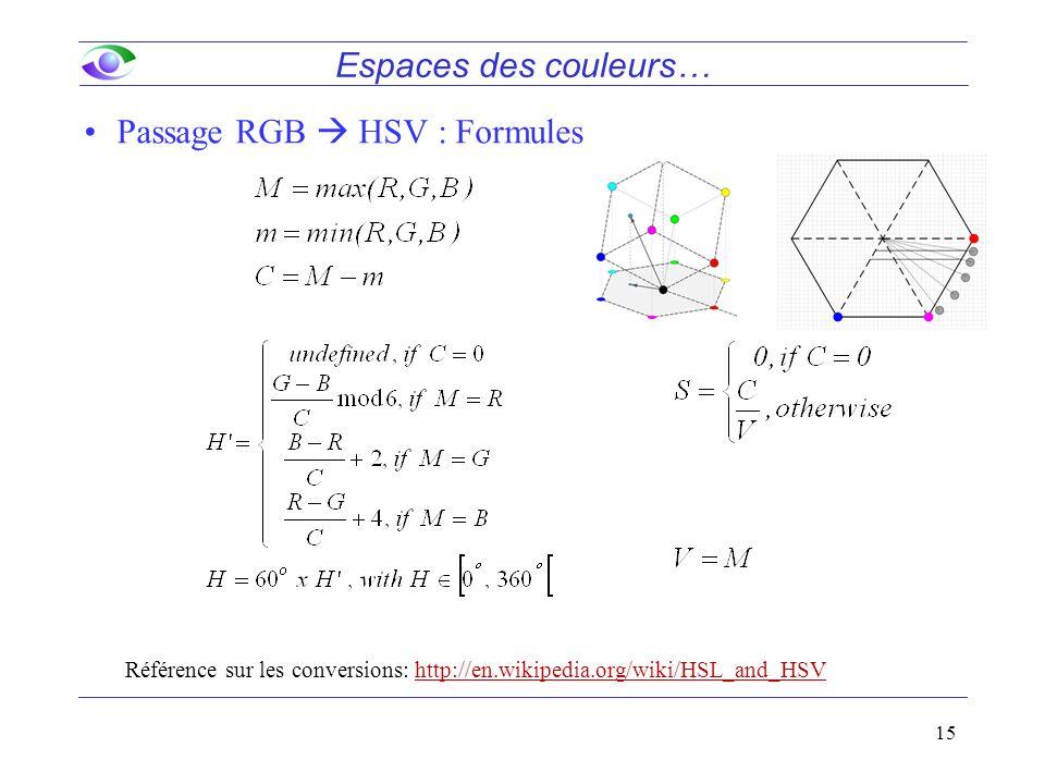 15 Passage RGB  HSV : Formules Référence sur les conversions: http://en.wikipedia.org/wiki/HSL_and_HSV Espaces des couleurs…
