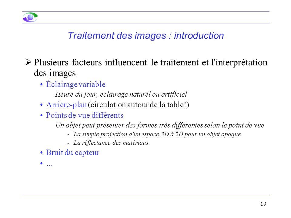 19 Traitement des images : introduction  Plusieurs facteurs influencent le traitement et l'interprétation des images Éclairage variable Heure du jour