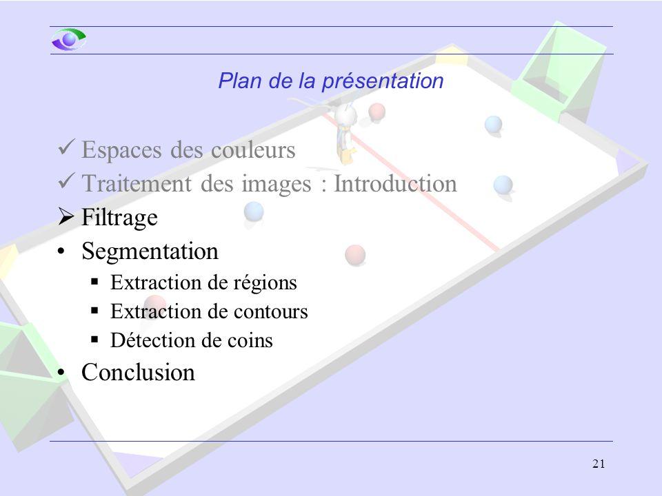 21 Plan de la présentation Espaces des couleurs Traitement des images : Introduction  Filtrage Segmentation  Extraction de régions  Extraction de c