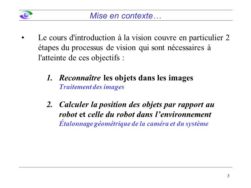 3 Le cours d introduction à la vision couvre en particulier 2 étapes du processus de vision qui sont nécessaires à l atteinte de ces objectifs : 1.Reconnaître les objets dans les images Traitement des images 2.Calculer la position des objets par rapport au robot et celle du robot dans l'environnement Étalonnage géométrique de la caméra et du système Mise en contexte…