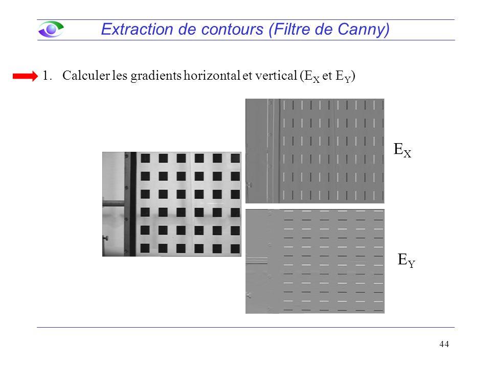 44 Extraction de contours (Filtre de Canny) 1.Calculer les gradients horizontal et vertical (E X et E Y ) EXEX EYEY