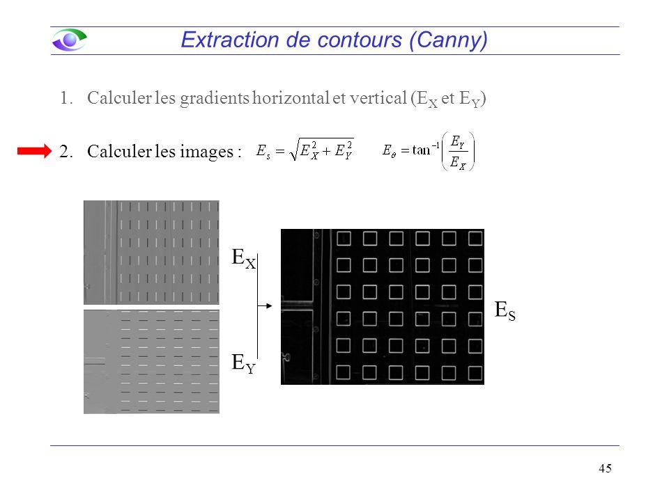 45 Extraction de contours (Canny) EXEX EYEY ESES 1.Calculer les gradients horizontal et vertical (E X et E Y ) 2.Calculer les images :