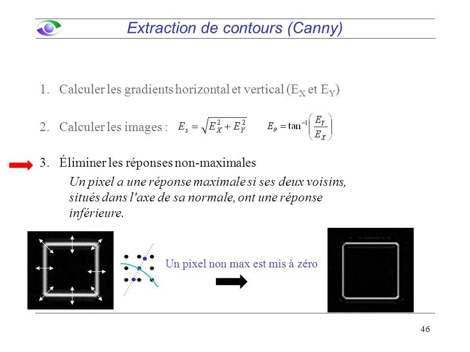 46 Extraction de contours (Canny) 1.Calculer les gradients horizontal et vertical (E X et E Y ) 2.Calculer les images : 3.Éliminer les réponses non-maximales Un pixel a une réponse maximale si ses deux voisins, situés dans l axe de sa normale, ont une réponse inférieure.