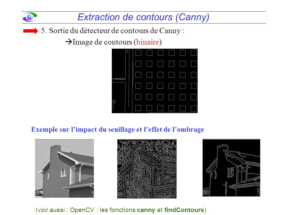 48 Extraction de contours (Canny) 5. Sortie du détecteur de contours de Canny :  Image de contours (binaire) A 2009Design III / GEL-3004 (voir aussi