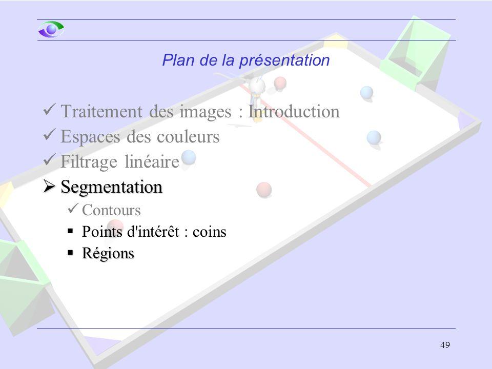49 Plan de la présentation Traitement des images : Introduction Espaces des couleurs Filtrage linéaire  Segmentation Contours  Points d intérêt : coins  Régions