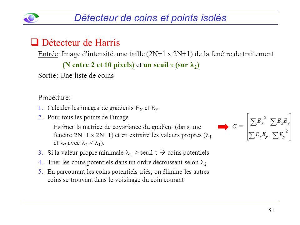 51 Entrée: Image d intensité, une taille (2N+1 x 2N+1) de la fenêtre de traitement (N entre 2 et 10 pixels) et un seuil  (sur 2 ) Sortie: Une liste de coins Détecteur de coins et points isolés Procédure: 1.Calculer les images de gradients E X et E Y 2.Pour tous les points de l image Estimer la matrice de covariance du gradient (dans une fenêtre 2N+1 x 2N+1) et en extraire les valeurs propres ( 1 et 2 avec 2  1 ).