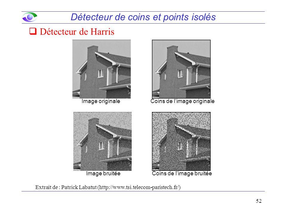 52 Détecteur de coins et points isolés  Détecteur de Harris Extrait de : Patrick Labatut (http://www.tsi.telecom-paristech.fr/) Image originaleCoins de l'image originale Image bruitéeCoins de l'image bruitée
