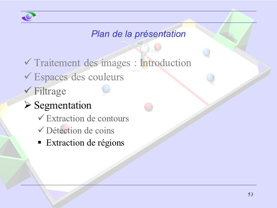 53 Plan de la présentation Traitement des images : Introduction Espaces des couleurs Filtrage  Segmentation Extraction de contours Détection de coins