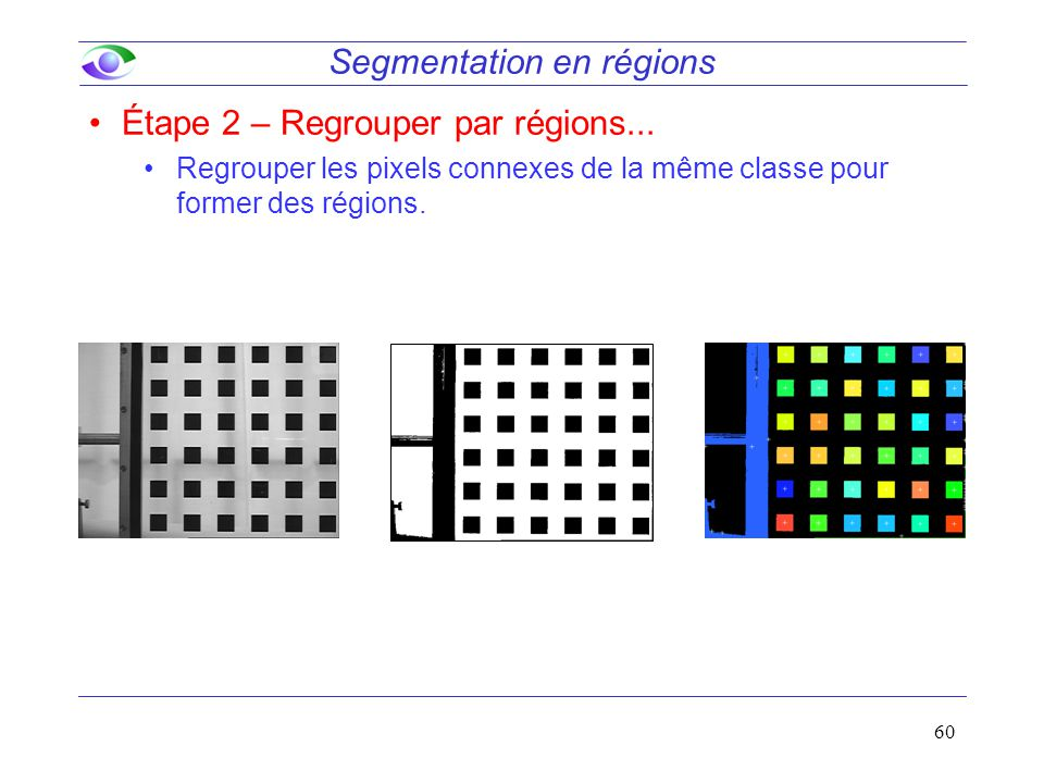 60 Segmentation en régions Étape 2 – Regrouper par régions... Regrouper les pixels connexes de la même classe pour former des régions.