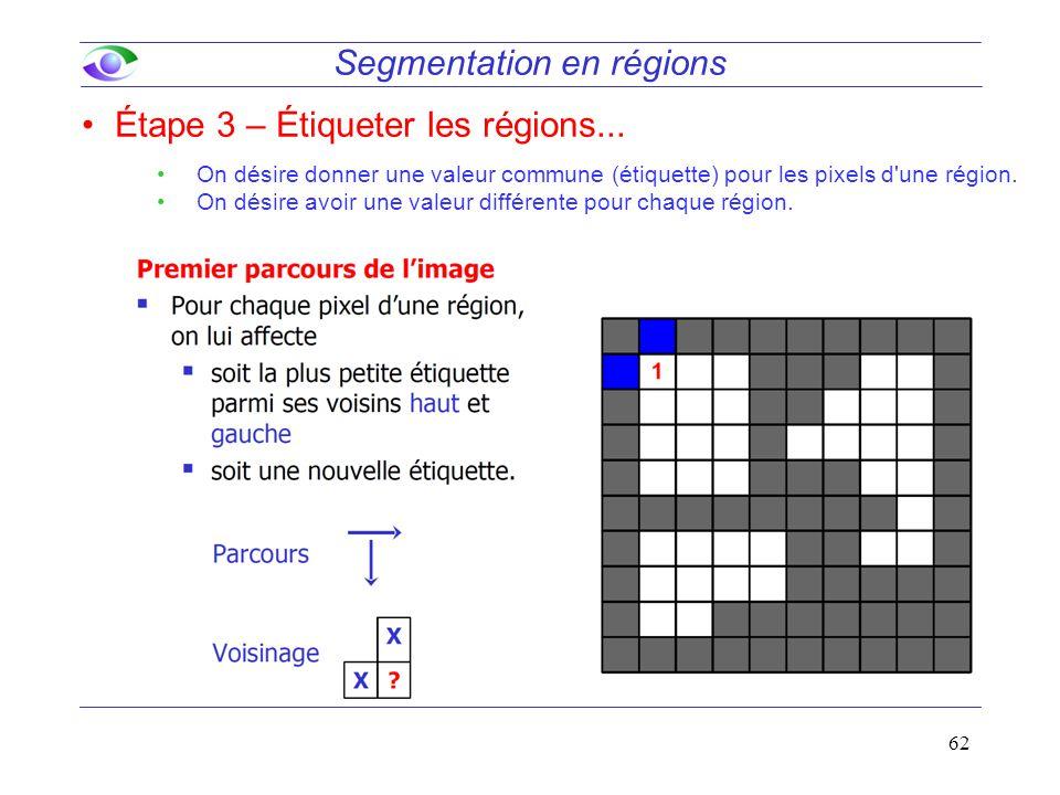 62 Segmentation en régions Étape 3 – Étiqueter les régions... On désire donner une valeur commune (étiquette) pour les pixels d'une région. On désire
