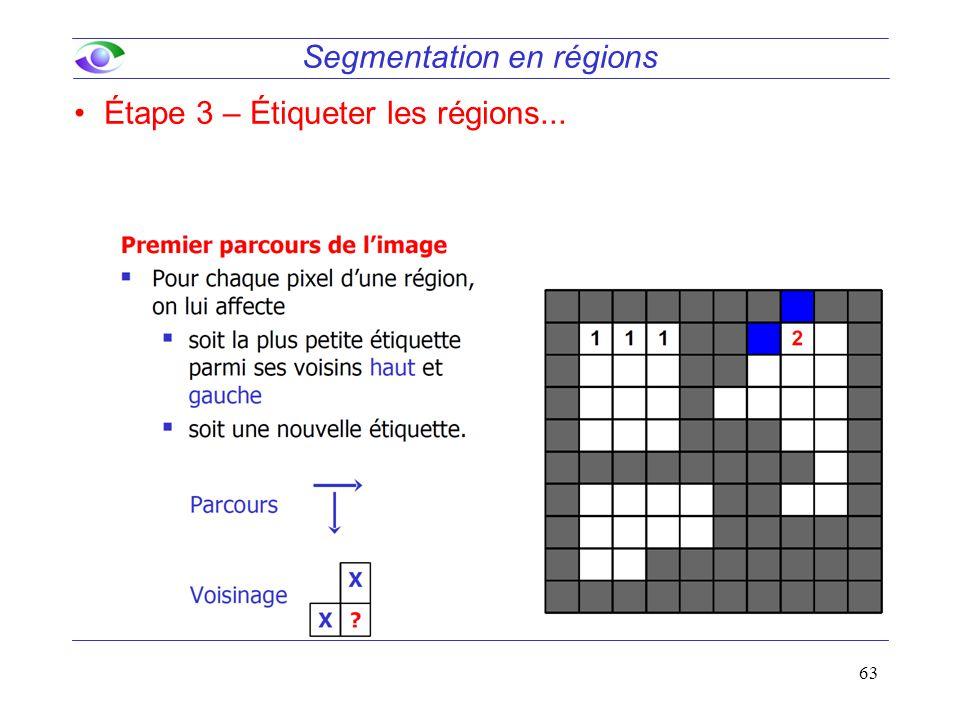 63 Segmentation en régions Étape 3 – Étiqueter les régions...